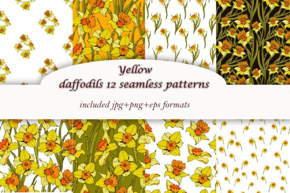 Print on Demand: Yellow Spring Daffodils - 12 Patterns Graphic Illustrations By ElenaZlataArt