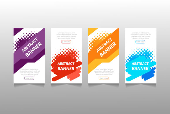 Download Free Set Of Banner Design Graphic By Ngabeivector Creative Fabrica for Cricut Explore, Silhouette and other cutting machines.