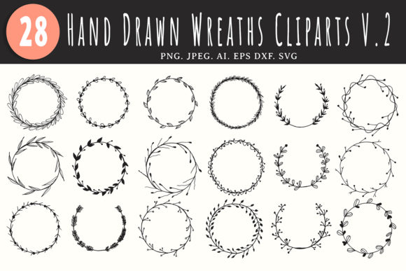 Print on Demand: 25+ Handmade Wreaths Cliparts V2 Graphic Illustrations By Creative Tacos - Image 1