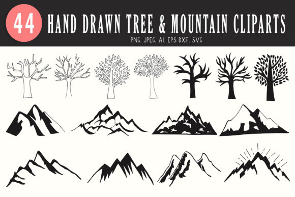 Download Free 40 Tree Mountain Handmade Cliparts Graphic By Creative Tacos for Cricut Explore, Silhouette and other cutting machines.