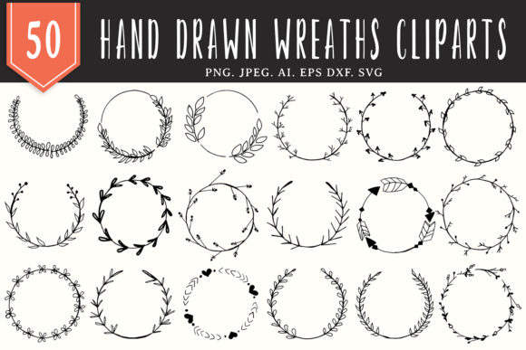Print on Demand: 50 Handmade Wreaths Cliparts Graphic Illustrations By Creative Tacos