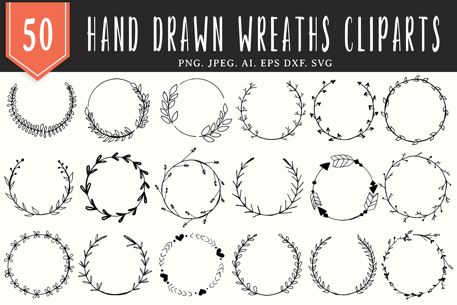 Download Free 50 Handmade Wreaths Cliparts Graphic By Creative Tacos for Cricut Explore, Silhouette and other cutting machines.