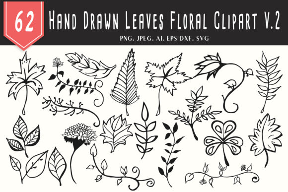 Print on Demand: 60+ Handmade Leaves Floral Clipart V2 Graphic Illustrations By Creative Tacos