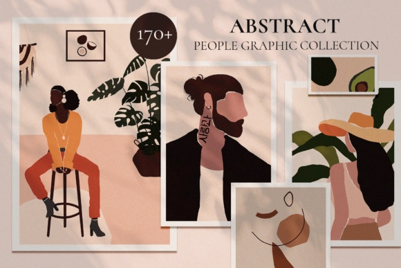 Abstract People Prints Modern Art Graphic Illustrations By Madiwaso
