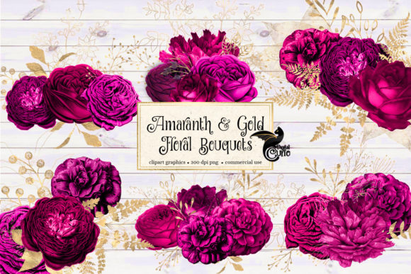 Amaranth and Gold Floral Bouquets Graphic Illustrations By Digital Curio