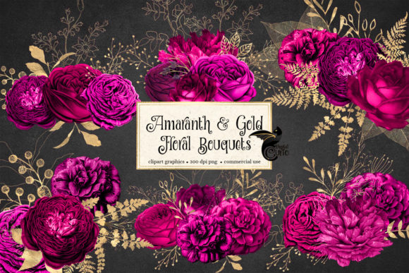 Print on Demand: Amaranth and Gold Floral Bouquets Graphic Illustrations By Digital Curio - Image 2
