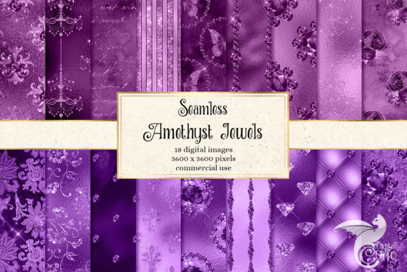 Amethyst Jewels Digital Paper Graphic Patterns By Digital Curio