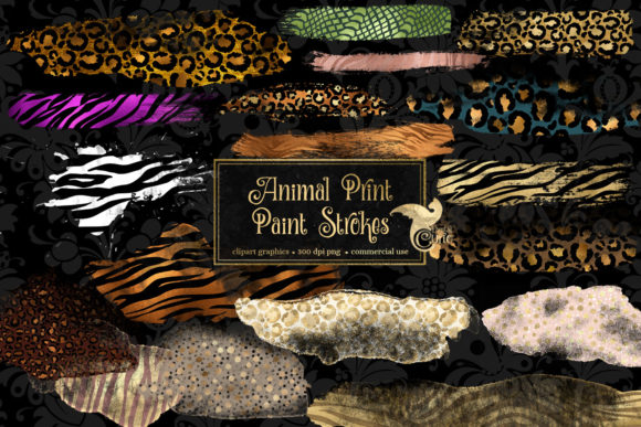 Animal Print Paint Strokes Clipart Graphic Illustrations By Digital Curio - Image 1
