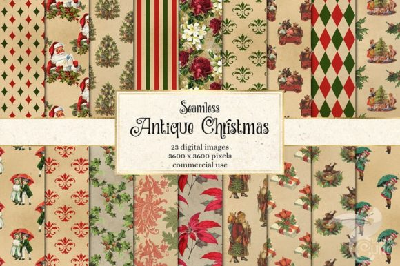 Antique Christmas Digital Paper Grafik Muster von Digital Curio