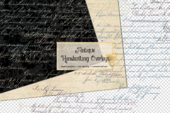 Antique Handwriting Overlays Graphic Textures By Digital Curio