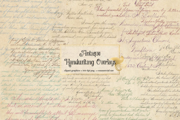 Print on Demand: Antique Handwriting Overlays Graphic Textures By Digital Curio - Image 2