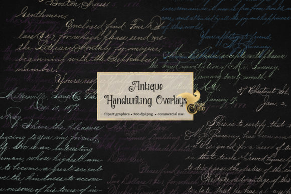 Print on Demand: Antique Handwriting Overlays Graphic Textures By Digital Curio - Image 3