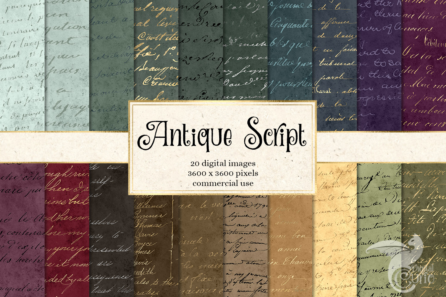 Download Free Antique Script Digital Paper Graphic By Digital Curio Creative for Cricut Explore, Silhouette and other cutting machines.