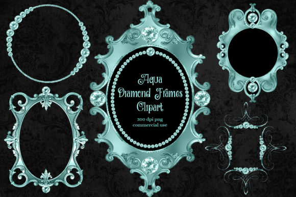 Print on Demand: Aqua Diamond Frames Clipart Graphic Illustrations By Digital Curio - Image 1