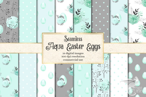 Aqua Easter Egg Digital Paper Graphic Patterns By Digital Curio