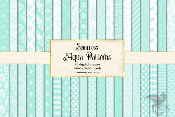 Print on Demand: Aqua Patterns Digital Paper Graphic Patterns By Digital Curio - Image 1