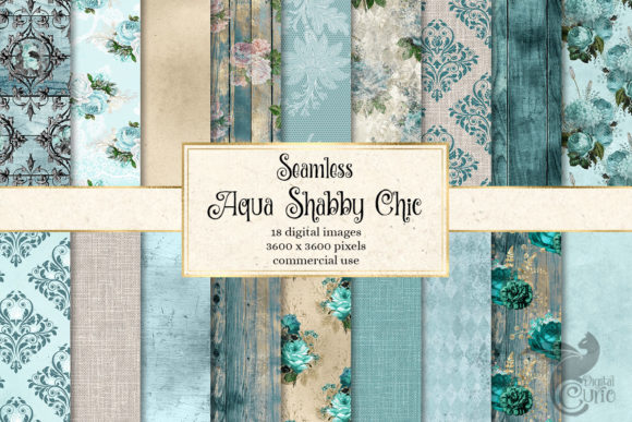 Print on Demand: Aqua Shabby Chic Digital Paper Graphic Textures By Digital Curio