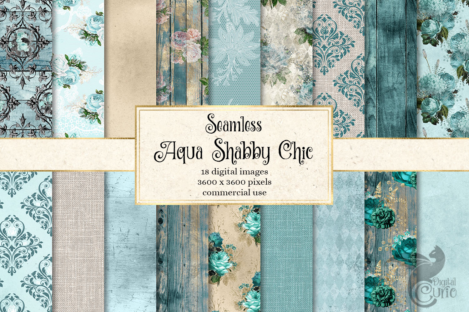 Download Free Aqua Shabby Chic Digital Paper Graphic By Digital Curio for Cricut Explore, Silhouette and other cutting machines.