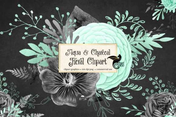 Aqua and Charcoal Floral Clipart Graphic Illustrations By Digital Curio