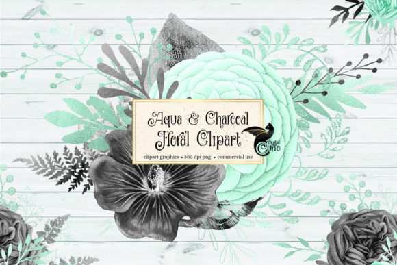 Print on Demand: Aqua and Charcoal Floral Clipart Graphic Illustrations By Digital Curio - Image 2
