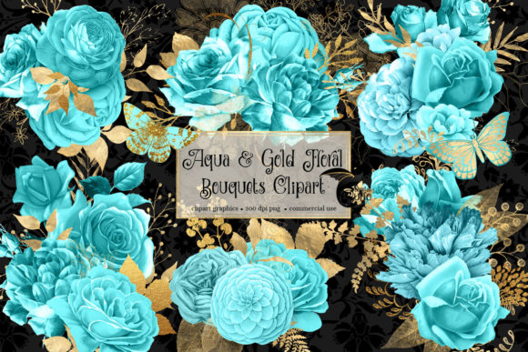 Print on Demand: Aqua and Gold Floral Bouquets Clipart Graphic Illustrations By Digital Curio