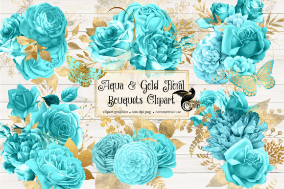 Print on Demand: Aqua and Gold Floral Bouquets Clipart Graphic Illustrations By Digital Curio - Image 2