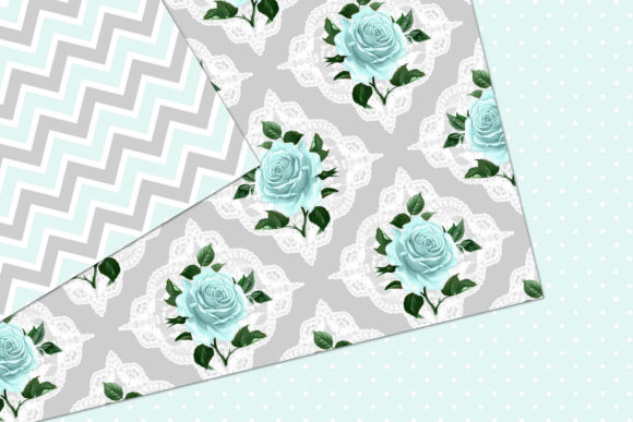 Print on Demand: Aqua and Gray Shabby Digital Paper Graphic Patterns By Digital Curio - Image 3