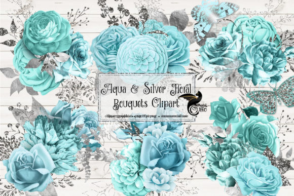 Aqua and Silver Floral Bouquets Clipart Graphic Illustrations By Digital Curio