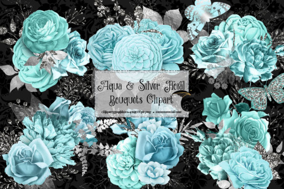 Aqua and Silver Floral Bouquets Clipart Graphic Illustrations By Digital Curio - Image 2