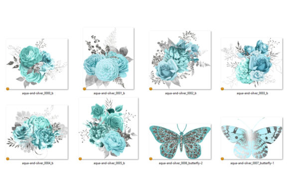Aqua and Silver Floral Bouquets Clipart Graphic Illustrations By Digital Curio - Image 3