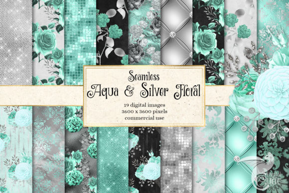 Aqua and Silver Floral Digital Paper Graphic Patterns By Digital Curio