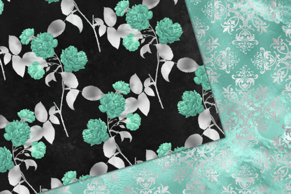 Print on Demand: Aqua and Silver Floral Digital Paper Graphic Patterns By Digital Curio - Image 3