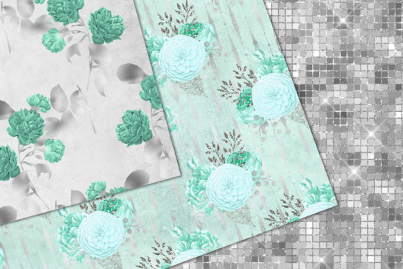 Print on Demand: Aqua and Silver Floral Digital Paper Graphic Patterns By Digital Curio - Image 5