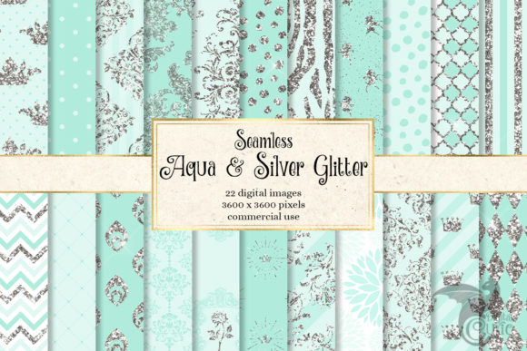 Aqua and Silver Glitter Digital Paper Graphic Patterns By Digital Curio