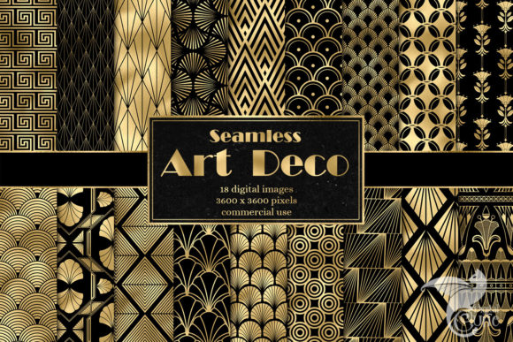 Art Deco Digital Paper Graphic Patterns By Digital Curio