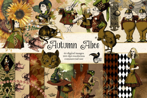 Autumn Alice Digital Scrapbook Kit Graphic Illustrations By Digital Curio