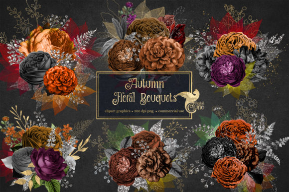 Autumn Floral Bouquets Clipart Grafik Illustrationen von Digital Curio