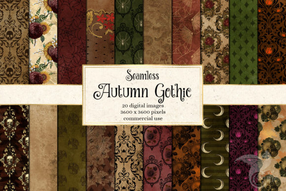 Autumn Gothic Digital Paper Graphic Patterns By Digital Curio