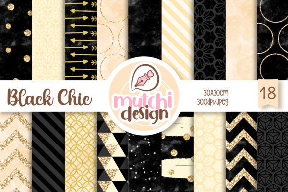 Print on Demand: Black Chic Patterns Graphic Backgrounds By Mutchi Design