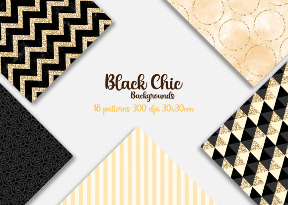 Print on Demand: Black Chic Patterns Graphic Backgrounds By Mutchi Design - Image 2