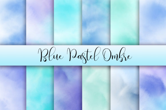 Blue Pastel Ombre Watercolor Background Graphic Backgrounds By PinkPearly - Image 1