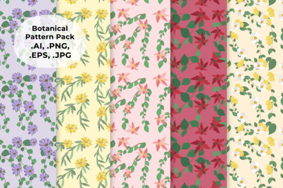 Download Free Botanical Pattern Pack Graphic By Salfiart Creative Fabrica for Cricut Explore, Silhouette and other cutting machines.