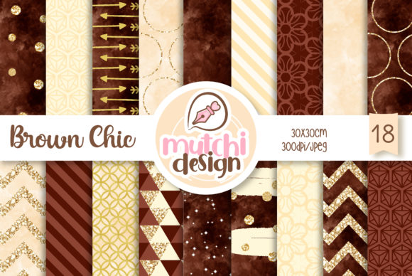 Print on Demand: Brown Chic Patterns Graphic Backgrounds By Mutchi Design