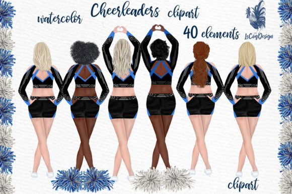 Cheerleaders Clipart Watercolor Girls Graphic Illustrations By LeCoqDesign - Image 1
