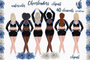 Print on Demand: Cheerleaders Clipart Watercolor Girls Graphic Illustrations By LeCoqDesign