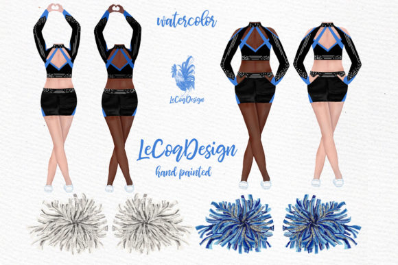 Cheerleaders Clipart Watercolor Girls Graphic Illustrations By LeCoqDesign - Image 2