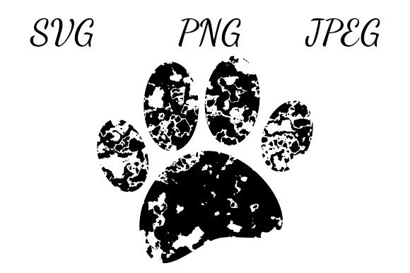 Print on Demand: Distressed Puppy Paw Print Graphic Illustrations By almdrs