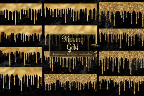 Print on Demand: Dripping Gold Clipart Graphic Textures By Digital Curio - Image 1