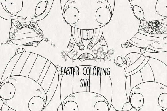 Easter Coloring Graphic Coloring Pages & Books Adults By NotturnoClipArt - Image 1