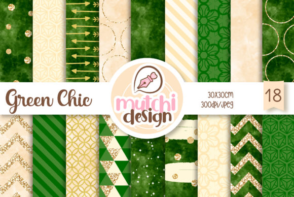 Print on Demand: Green Chic Patterns Graphic Backgrounds By Mutchi Design